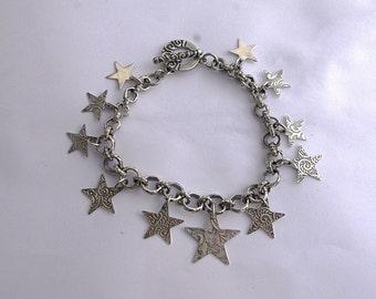 Sterling stars charm bracelet