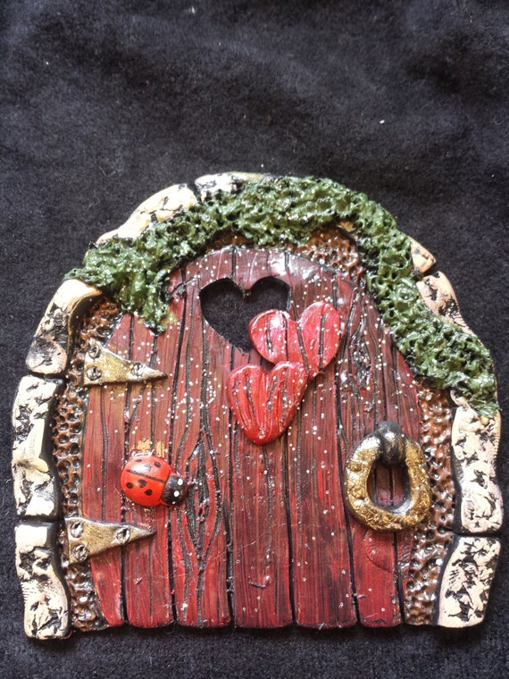 Faerie fairy door red door with hearts by for The faerie door