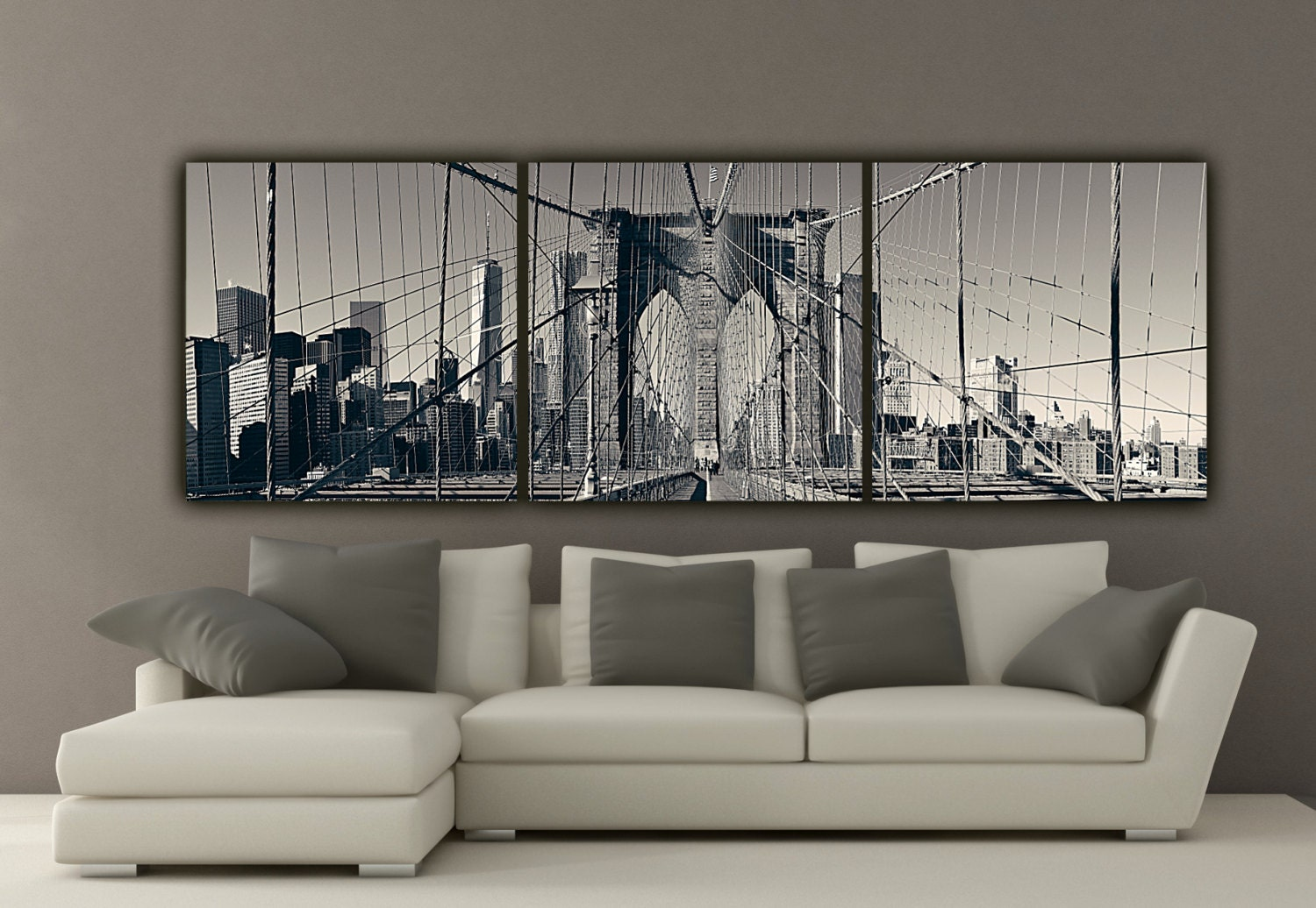 New York Brooklyn Bridge Canvas Wall Art Black And White New