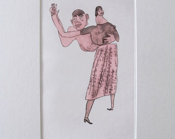 Waltz (Handcoloured Drypoint Etching, 2014)
