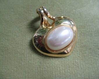 Vintage TAT Pendant, Vintage Necklace Pendant, Vintage Pearl, Eco Friendly, Reclaimed Jewelry, Vintage Jewelry, Signed Pendant, Jewelry Gift