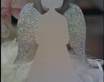 Free Standing Wooden Glitter Guardian Angel. Any Colour