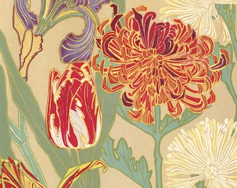 Art Nouveau Floral Giclee Art Print Poster Home