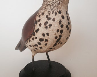 Hand Carved Cedar Wood Thrush