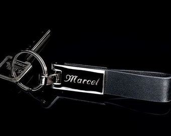Leather key fob with personal engraving