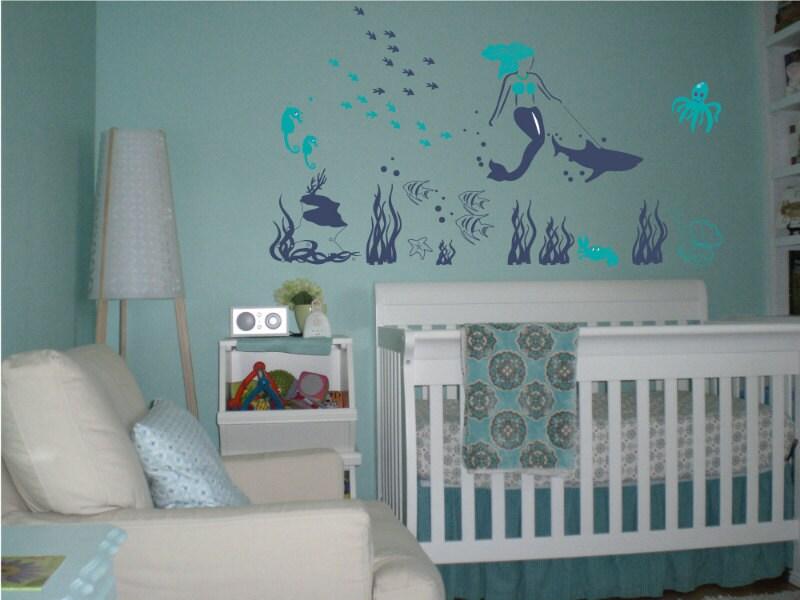 Mermaid Decal Shark Decal Reusable Vinyl Fabric - Custom reusable vinyl wall decals