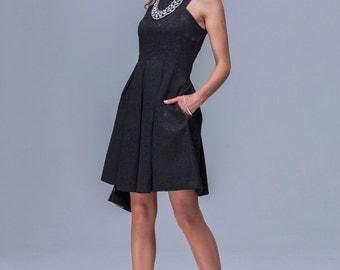 Little Black Formal Mini Dress, Flared, Sleeveless.