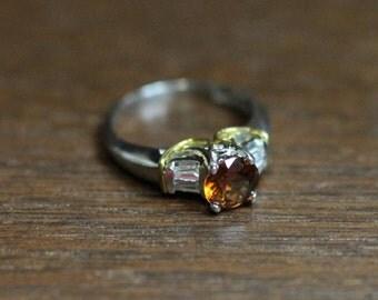 Yellow Zircon and Diamond Ring