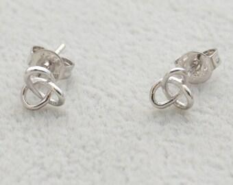 Dainty Trinity Stud Earrings in Sterling Silver