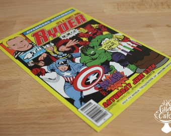 Avengers Comic Book Invitations // Birthday Invitations // Avengers // Cartoon