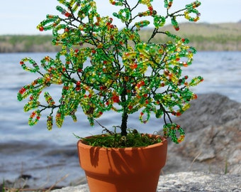 Mini Beaded Twisted Wire Onset of Fall Potted Bonsai Tree