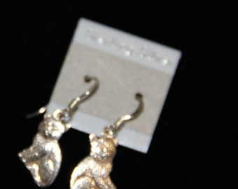 Sterling Silver Cat Earrings Dangle From the 1980's