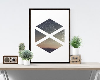 Geometric Art, Geometric Art Printable, Modern Minimalist Sunset Geometric Art Printable With Diamonds and Triangles Bauhaus Geometric Art