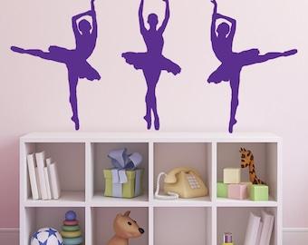 3 Ballet Dancer / Ballerina Wall Stickers / Decals