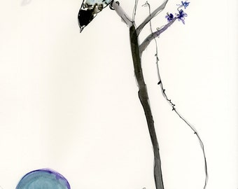 Moon Bird Illustration Giclee Print // A3