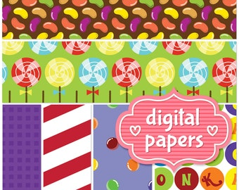 Adorable Willy Wonka Candies printable digital paper background INSTANT DOWNLOAD for personal and commercial use - High Resolution 300 DPI