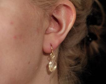 petite peach drop earrings