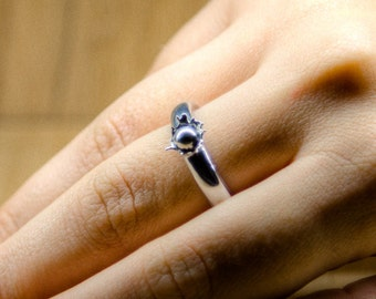Ring Drop Falling - Solid Sterling Silver 925 Ring - Made in Rome, Italy
