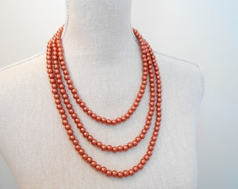 Pearl necklace: Multi strand copper glass beads, unique for wedding, Bridesmaid Gifts, Mother of the Bride, Bridal, Birthday, Mum jewelry