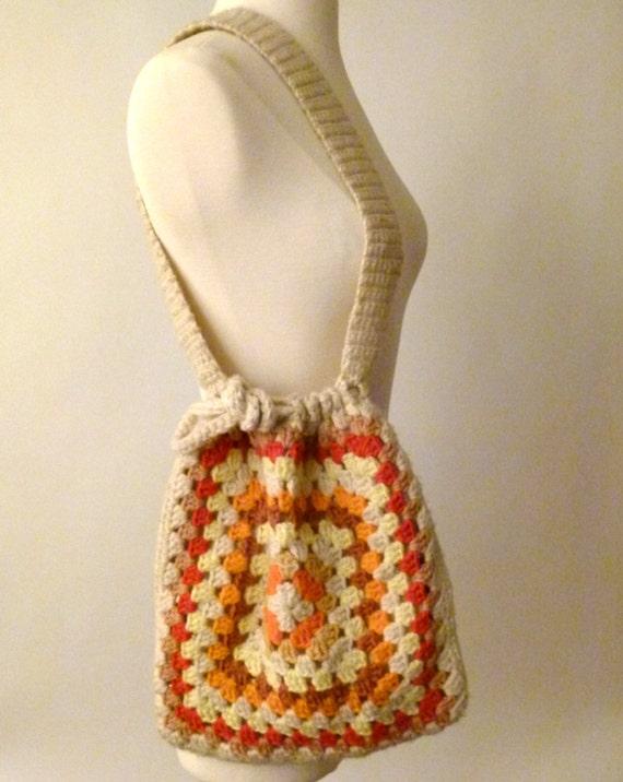 70s Draw String Me In Crochet Purse
