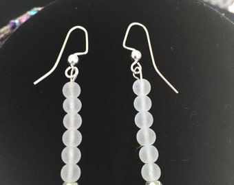 white beach glass earrings