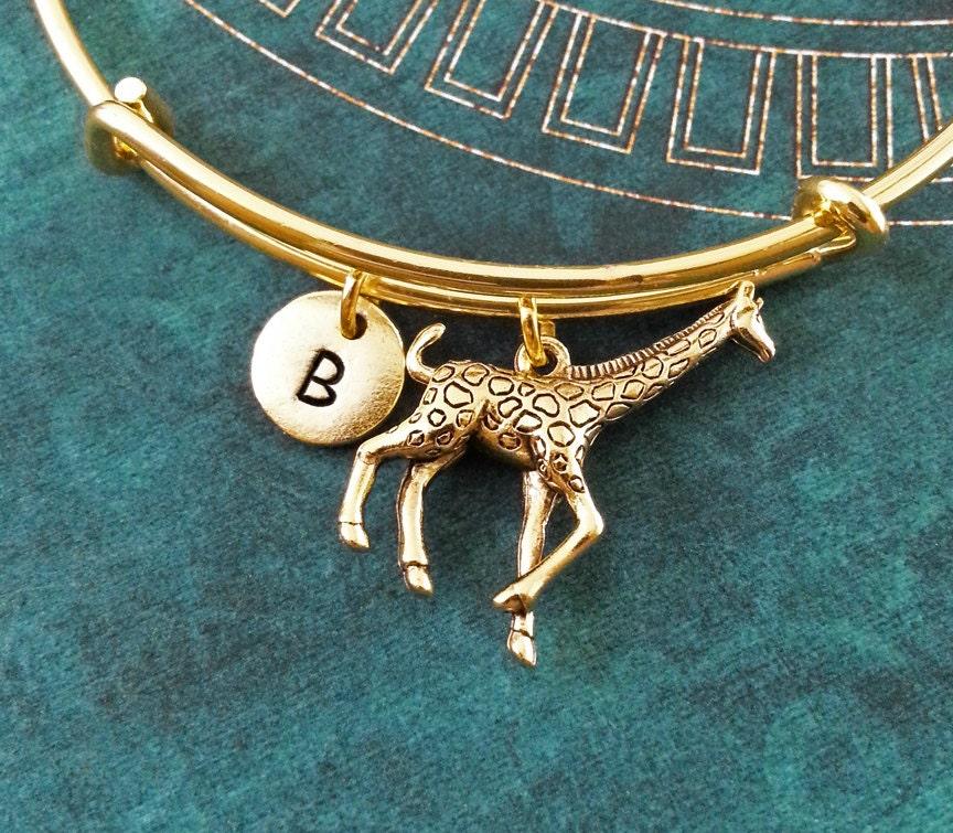 Giraffe Charm Bracelet: Giraffe Bangle Gold Giraffe Bracelet Giraffe Charm Bracelet