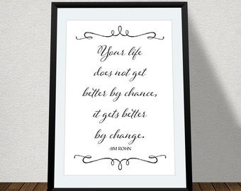 "Typographic Print Wall Art ""Your life does not get better by chance, it gets better by change"" - Instant Download - Inspirational Quote"