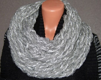 Handmade Knitted Gray And White Snood Scarf
