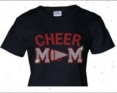 Rhinestone Personalized Cheer Mom Shirt Bling Cheer Shirt
