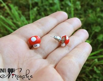 Stud studs earrings (fimo) geek mario mushroom