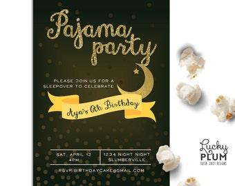 Pajama Party Birthday Invitation / Slumber Party Invite / Sleepover Invite / Star Moon Black Invite / Popcorn Movie Invite / *Digital file*