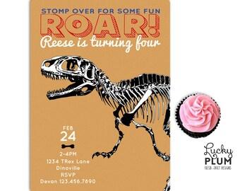 Dinosaur Birthday Invitation / TRex Invite / Boy Animal Invitation / Skeleton Invite / Jurassic World Birthday Invite / Jurassic Park Invite