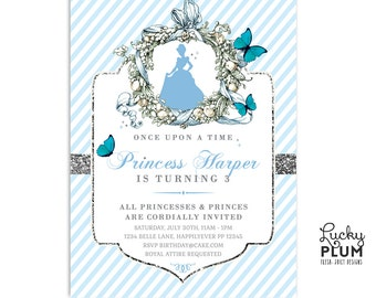 Princess Birthday Invitation / Cinderella Birthday Invite / Modern Butterfly Invitation / Silver and Blue Invite / Flower Stripe Invite