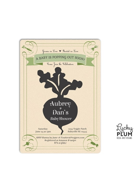 Locally Grown Baby Shower Invitation Farmer S Market