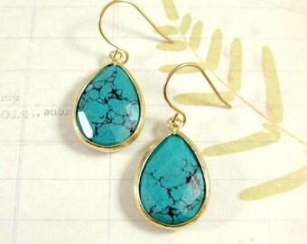 Gold + Turquoise Earrings / Boho Turquoise Gem Dangle Earrings, Bohemian Gold Earrings