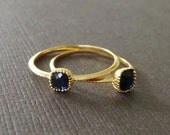 Petite Square Dark Blue Sapphire 22k Vermeil Stacking Ring Understated Jewelry Delicate Petite Rings Simple Modern Jewelry