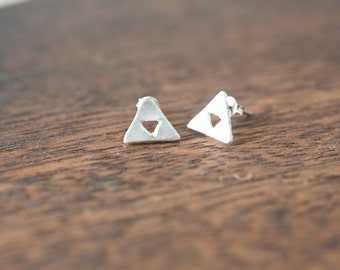 Traingle Earrings Sterling Silver Triangle Earrings Minimalist Geometric Stud Earrings - Minimal Modern Jewellery - Simple Everyday Jewelry