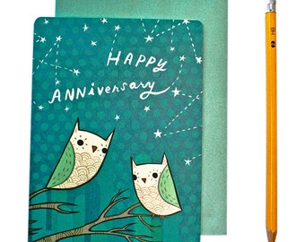 Owl Anniversary Card - Anniversary Card for Him - Happy Anniversary Card - Romantic Anniversary Card Husband Wife Greeting Card