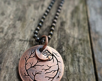 The Circle, Hand Sawn Oxidized Copper Yin and Yang Movement Pendant