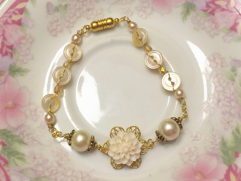 Ivory Flower Bracelet Vintage Button Jewelry Pearl Bridesmaid Mother Of Wedding Handmade KreatedByKelly