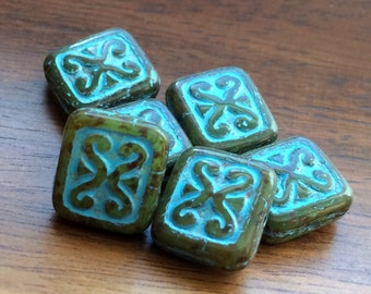 Czech glass square beads-moss green with blue patina pack of 6