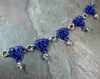 Chainmaille Anklet - Purple Drops - Ankle Bracelet - Purple Chainmail - Chainmaille Jewelry