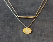 Necklace Set, Layering Necklaces, Set of Two, Delicate Jewelry, 14k Gold Filled, Gold Vermeil, Curved Bar Necklace, Small Disk Necklace