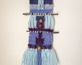 Small twig weaving/ wall hanging in blues and purples