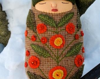 Swaddled Sleeping Flower Folk Art Baby wool doll