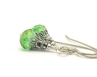Green Earrings, Affordable Earrings, Green Crystal Earrings, Victorian Design, Antiqued Silver Plated, Dangle Drop Petite Earrings