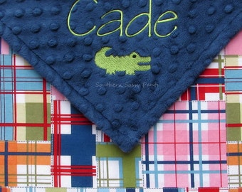 Personalized Alligator Baby Boy Security Blanket ,  Minky and Madras Plaid Lovie , Additional Embroidery Options Available