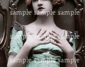 SALE no1045  Instant Digital Download - Collage Sheet Scan -Beautiful Victorian Woman - Paris - Vintage - Princess -Antique FRENCH Postcard