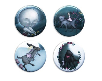 Fairytale badges / fridge magnets - The Dead Moon, Black Shuck, The Bell Tower cats whimsy hare alice pins buttons