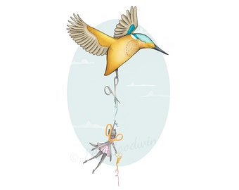 "Cat Bird illustration fine art print - ""The Scissor Fairy""  Kingfisher sewing  A3 / A4 / A5 / 8 x 10"